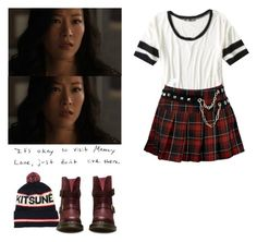 """Kira Yukimura - tw / teen wolf"" by shadyannon ❤ liked on Polyvore featuring Maison Kitsuné and Dr. Martens"