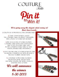 Pin it to win it!!!!! Pin Couture Table products and win this beautiful Swarkovski Coral Crystal and Turquiose beaded Salad Set! Visit our blog at www.couturetableblog.com and www.facebook.com/CoutureTable for more information!