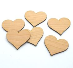 HEARTS : 50 Laser cut wooden hearts - Made to order