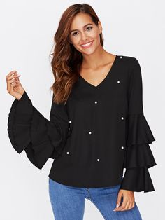 Shop Pearl Detail Layered Frill Frill Sleeve Top online. SheIn offers Pearl Detail Layered Frill Frill Sleeve Top & more to fit your fashionable needs.