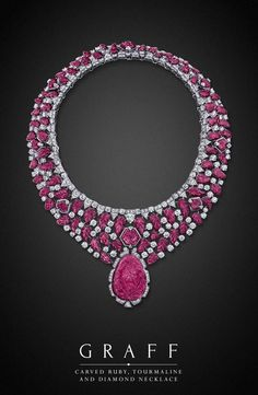 Graff Diamonds: Carved Ruby, Tourmaline and Diamond Necklace: