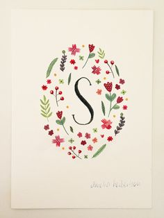 Monogram Letter S floral art print by AmeliaHerbertson on Etsy