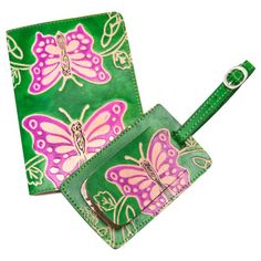 Genuine Leather Travel Set (Passport Cover & Luggage Tag) https://sitaracollections.com/collections/travel-accessories/products/green-butterfly-passport-cover-luggage-tag-set-from-india