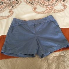 J. Crew City Fit Chino Shorts, size 6 J. Crew  Blue City Fit Broken In classic Twill Chino shorts, size 6. 100% cotton, Rise is 9 and inseam is 5. Please ask if you have any questions. J. Crew Shorts