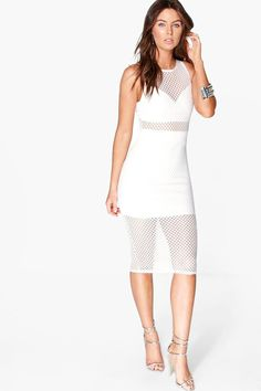 Thea Mesh Panelled Detail Sleeveless Midi Dress