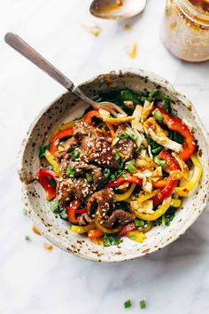 Korean BBQ Steak Bowls with Spicy Sesame Dressing - a healthy, crazy delicious recipe that is ready in 20 minutes! | pinchofyum.com