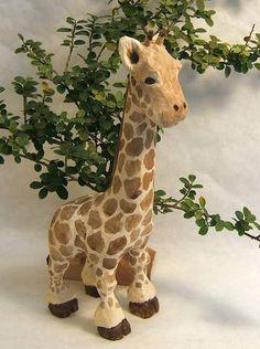 Handmade Giraffe Caricature Unique Gift Decorative Art Sculpture Wood Carving