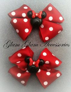 Minnie Mouse Hair Clip Set by GlamGlamAccessories on Etsy, $10.00