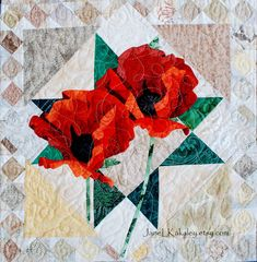 Art Quilt Pattern - Poppy Applique Quilt by Jane L Kakaley