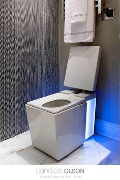 Kohler Numi toilet • Intelligent elongated dual-flush chair height toilet with premium remote! #candiceolson #candiceolsondesign Cool Toilets, Bidet Toilet Seat, Candice Olson, Chair Height, Creative Design, Remote, Bathrooms, Ideas, Bathroom