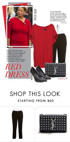 """""""Red Dress (plus size)"""" by beebeely-look ❤ liked on Polyvore featuring MICHAEL Michael Kors, Yves Saint Laurent, women's clothing, women, female, woman, misses, juniors, reddress and sammydress"""