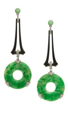 Art deco diamond, jade and black enamel ear pendants by Georges Fouquet, Paris, circa Siegelson, New York (£POA) Jade Earrings, Art Deco Earrings, Jade Jewelry, Art Deco Jewelry, Jewelry Design, Crystal Jewelry, Silver Jewelry, Platinum Earrings, Jewellery Earrings