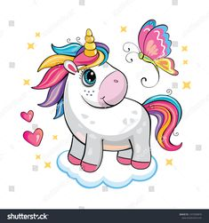 A cute funny unicorn on white background. Isolated illustration with cartoon and fabulous little pony, butterfly, star, cloud and heart. Funny Cartoons, Portfolio, Little Pony, Cute Wallpapers, Flower Power, Funny Unicorn, Butterfly, Fan Art, Star Cloud