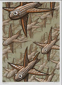 """Depth"" by M.C. Escher, 1955.  (Wood engraving in brown-red, grey-green, and dark brown; printed from 3 blocks.)"