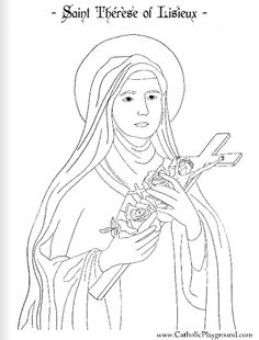 saint therese of lisieux coloring page  and lots of other saints too. very nice pictures to color!!
