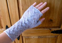 Lacy fingerless gloves / wrist warmers hand by CrazyAboutGloves
