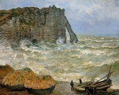Etretat Rough Sea oil painting by Famous Artist -Monet
