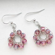 Crochet wire earrings  #crochet #bead #earrings #DIY #crafts #jewelry