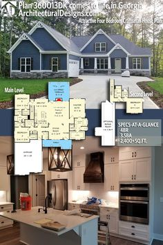 ADHousePlans Craftsman Home Plan 360013DK comes to life in Georgia! This beautiful home gives you 2,400+ square feet of living space with 4 bedrooms and 3.5 baths. AD House Plan #360013DK #adhouseplans #architecturaldesigns #houseplans #homeplans #floorplans #homeplan #floorplan #houseplan #countryhome #craftsman #craftsmanstyle #constructionplans #homebuilding #houseplansforsale