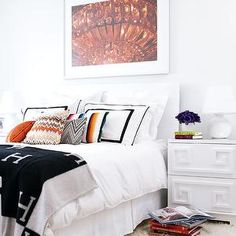 Style at Home - bedrooms - hemes throw, hermes throw blanket, missoni pillows, greek key chest, greek key nightstand, white greek key chest, white greek key nightstand, , Worlds Away Oriental Nightstand in White Lacquer, Hermes Throw,