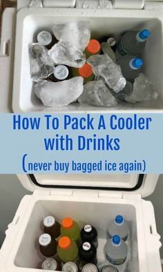 How to Pack a Cooler with Drinks & Ice Hacks How to keep your drinks cool for the beach. How to pack a cooler. Dry Ice Cooler, Diy Cooler, Ice Chest Cooler, Beach Cooler, Beach Drinks, Fun Drinks, Kids Camping Chairs, Camping Outdoors, Tent Camping
