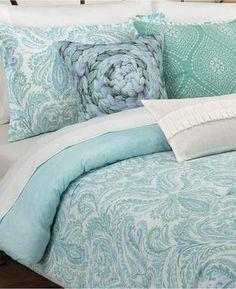 Nouvelle Home Painterly Paisley White Full/Queen Comforter Set Bedding. #bluebedding #blue #bedroomdecor #afflnk