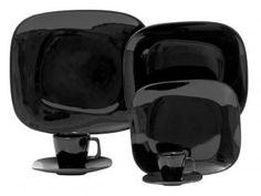 Aparelho de Jantar 42 Peças Oxford Porcelana - Quadrado Preto Shift Black