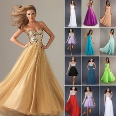 Sexy NEW Chiffon Evening Formal Prom Party Ball Gown Bridesmaid Dress 10 Styles | eBay