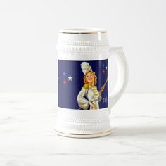 I Love America. 4th of July , Independence Day / Any Occasion Patriotic Design Gift  Beer Mugs with a vintage pin-up magazine illustration. Artist : Al Buell. Matching cards and products available in the Holidays / 4th of July Category of the oldandclassic store at zazzle.com
