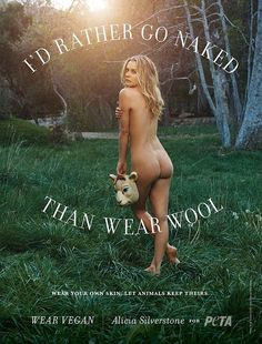 Save the sheep! Alicia Silverstone poses naked for a new ad encouraging people to wear vegan clothing, which doesn't include wool