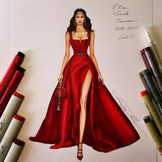 Fashion Illustrations by Natalia Zorin Liu - Source by dress drawing Fashion Model Drawing, Fashion Drawing Dresses, Fashion Illustration Dresses, Fashion Illustrations, Fashion Dresses, Design Illustrations, Dress Design Sketches, Fashion Design Sketchbook, Fashion Design Drawings