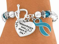 Teal Ovarian Cancer Bracelet