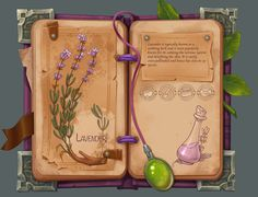 It was interesting for me to combine Botanical illustration and in-game ingredients menu)) Web Design, Prop Design, Game Design, Game Concept, Concept Art, Game 2d, Game Props, Game Item, Game Assets