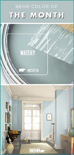 living room paint color ideas Color of the Month: Watery. It should come as no surprise that the Behr Color of the Month for January is Watery. This pastel blue hue is chic