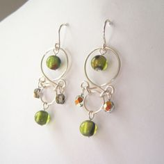 Handmade Beaded Green & Silver Chandelier Earrings