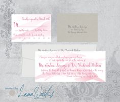 Pink and Gray Watercolor Wedding invitation  by Invited by LamaWorks