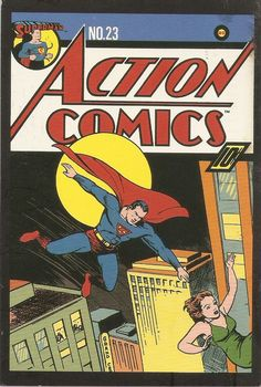 "Action Comics ""Superman: Europe at War-Part II"" April 1940, No.23 by Siegel & Shuster. Villain: Alexei Luther (1st Appearance)."