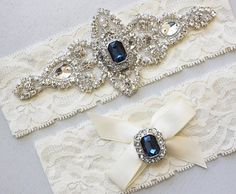 Best Seller - CHLOE II - Sapphire Blue Wedding Garter Set, Wedding Ivory Lace Garter, Rhinestone Crystal Bridal Garters, Something Blue on Etsy, $34.95