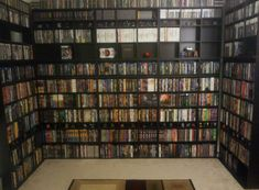 Floor to ceiling movie shelf for attic movie room