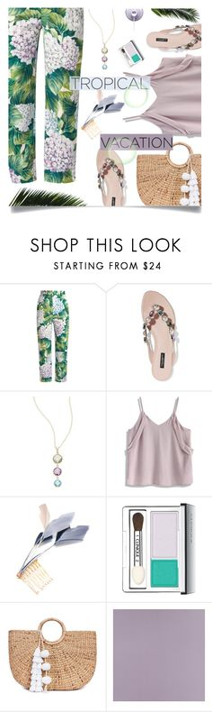 """""""pastel tropical"""" by nineseventyseven ❤ liked on Polyvore featuring Dolce&Gabbana, Saks Fifth Avenue, Chicwish, Noémiah, Clinique, JADE TRIBE, Casadeco and TropicalVacation"""