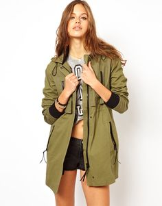 ASOS Casual Parka With Leather Look Trims