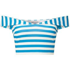 Miss Selfridge Petites Stripe Bardot Top (£34) ❤ liked on Polyvore featuring tops, shirts, crop top, ivory, petite, petite tops, blue top, blue crop top and summer tops