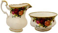 Royal Albert Old Country Roses Miniature Sugar Bowl & Cream Jug - England 1962 Backstamp