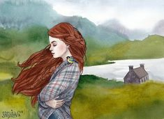 Wind Art Print by annaspeshilova Book Illustration, Character Illustration, Watercolor Illustration, Watercolor Art, Redhead Art, Collage Techniques, Picture Logo, Beautiful Paintings, Art Boards