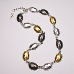 Sterling Silver layered with Blackened Silver and 24K Gold, Jordan Necklace, adjustable, by GURHAN