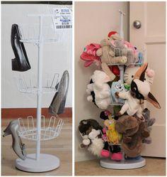 20+ Creative DIY Ways to Organize and Store Stuffed Animal Toys --> Shoe Tree Turned into Stuffed Animal Storage
