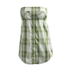 Plaid Button Tube - Teen Clothing by Wet Seal (36 BRL) ❤ liked on Polyvore featuring tops, shirts, tube tops, dresses, wet seal, wet seal tops, green shirt, wet seal shirts and tube shirt