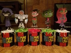 Teen Titan Centerpieces Birthday Centerpieces, Birthday Decorations, Birthday Party Themes, Pinata Party, Diy Party, Princess Theme, Teen Titans Go, Superhero Party, 4th Birthday