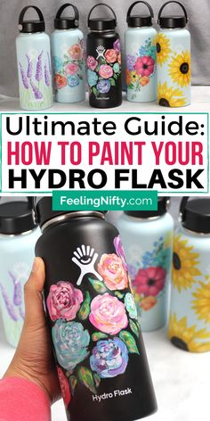 DIY Hydro flask painting ideas and tips to get your Hydroflask painted and sealed properly. 5 easy and simple flowers designs you can do on your Black, White and Blue (mint) Hydroflasks. Step by step tutorial included. Hydro Painting, Bottle Painting, Diy Painting, Easy Diys For Kids, Crafts For Teens, Easy Diy Projects, Craft Tutorials, Craft Ideas, Simple Flower Design