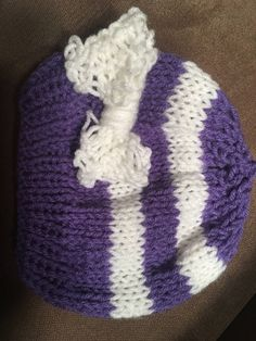 Purple and white striped baby hat with bow by KnithappyBoutique on Etsy Baby Hats, Knitted Hats, Beanie, Bows, Knitting, Purple, Store, Trending Outfits, Unique Jewelry